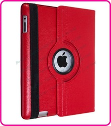 For The New iPad leather cover,Good Quality 360 Rotation Leather Case Smart Cover Stand Apple iPad 2, 3rd RED(China (Mainland))