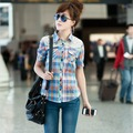 FREESHIPPING 2012 summer lace short-sleeve shirt 100% cotton plaid shirt women's
