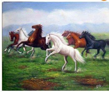 Horses Wild Mustang Herd Landscape 20X24 Oil Painting