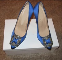 good discount!!! shoes,blue leather heels,free shipping