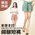 New arrival women&#39;s high waist elastic loose bow laciness chiffon shorts loose