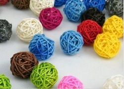 Free Shipping 3 cm diameter, 50pcs/ lot flower decoration mixed colors rattan balls(China (Mainland))