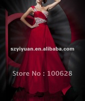 2012 One-Shoulder Beaded Red Fashion Evening Dress/Cocktail Dress