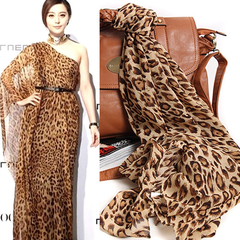 hot New arrival leopard print silk scarf ultra long leopard cape women's yoga apparel,other Strapless Breezy Layered Dress(China (Mainland))