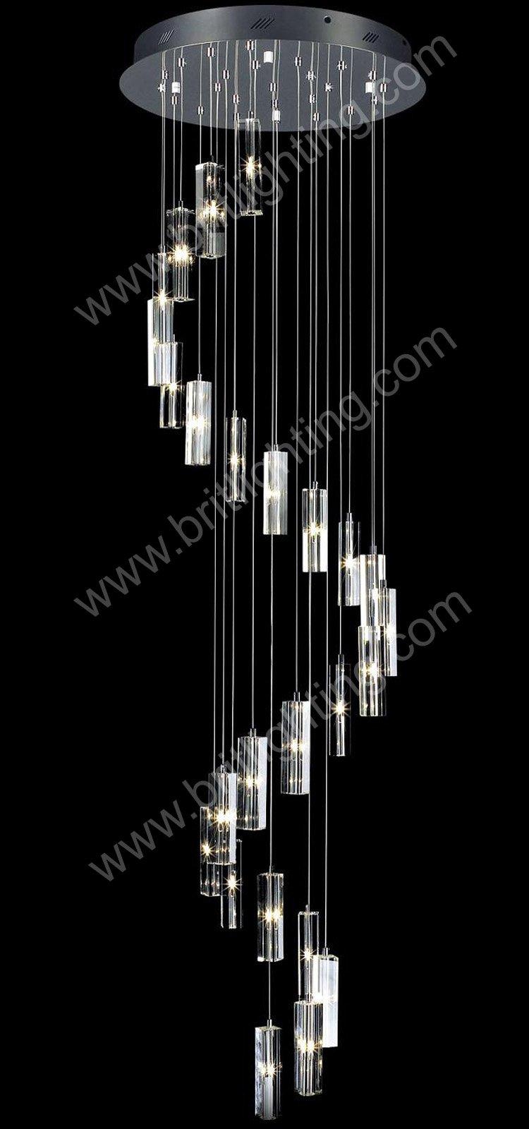 luz lustres passo a passo 25 luz uso Spiral Candelabro moderno para escada bem cair em espiral de cristal luz do candelabro(China (Mainland))