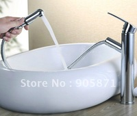 Free Shipping - Brass hot and cold pull out basin faucet mixer tap Stage basin leading /Wholesale -2224