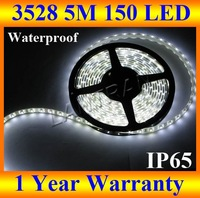 wholesale led strip 5M 16FT 3528 waterproof IP65 SMD 150LED 30led/M 100M/lot Red/green/blue/yellow/white DHL free shipping