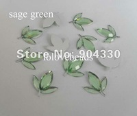 Free Shipping! 500pcs/bag 16*14mm Sage Green Maple Acylic Flatback Rhienstone Scrapbooking DIY Craft Beads