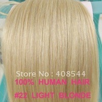 24inch(60cm) 7pcs  clip in on real human hair extensions #22 medium blonde 120g