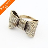 Min.order is $15 (mix order) Free Shipping Elegant OL Temperament Beautiful Wild Black Bow Rings, New Girl Ring R579