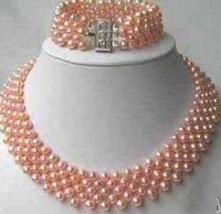 Hot Fashion Jewellery set Beautiful 4 rows pink pearl wedding Necklace bracelet Set free shipping