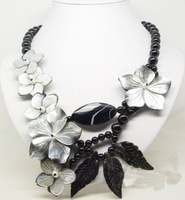 Hot Fashion Jewellery Beautiful Black Agate Flower Shell necklace big shell clasp free shipping
