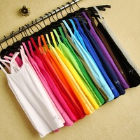 Free Shipping 2012 women's slim flip candy color basic shirt vest spaghetti strap top n5235