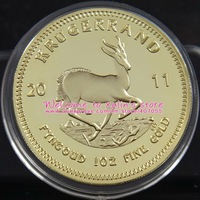 FreeShipping 33.5Gram Red Copper 24K Gold-Plated Year 2011 Krugerrand Replica Coin