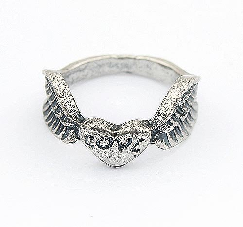 Min.order is $15 (mix order)Lovely Heart Wing Finger Ring ,Lovely Angel Wing Ring(Silver) R367(China (Mainland))