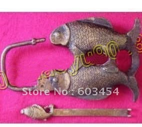 Wholesale Three fish Vintage cabinet copper lock and key carved  / Free Shiping 1Pcs
