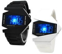 Stealth fighter warplane LED sports Watch, Red lights U2 watch (black)