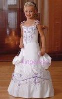 Flower Gril Dresses ! 2012 lowest price Matching Spaghetti strap chiffon ankle length Stole veil Party Dresses Communion Dresses