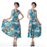 2013 fashion dress plus size maxi dress (L;XL;XXL;XXXL) women graceful printed beach dress  28 colors free shipping CW052