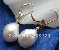 10X15MM White Drip Genuine Freshwater Pearl Dangle Earring 14k-20 Beautiful Style Women's Jewellery New Free Shipping FN1708