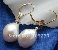 10X15MM White Drip Genuine Freshwater Pearl Dangle Earring 14k-20 Beautiful Style Women's Jewellery New Free Shipping FN1708