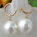 16MM White Color Southe Sea Shell Pearl Dangle Earring 14k-20 Beautiful Style Women's Jewellery New Free Shipping FN1735