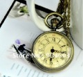 12pcs/lot Steampunk Vintage Bronze Roman numerals Mini Pocket Watch Necklace WE125, Dia: 3.3m