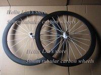 700c 100% hand built wheels &23mm width 50mm tubular 3k matte with white spoke