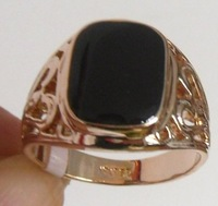 Free shipping. R969 RBlack Onyx  18K GP Rose Gold Men's Ring. Size 8-11 Can mix build