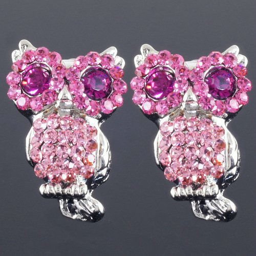 Deluxe Owl Bird Pink Crystal Animal Clip On Screw Back Earrings/cheap 925 sterling silver earrings dropship(China (Mainland))