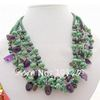 Charming ! Pearl &amp; Amethyst &amp; Smoky Quartz &amp; Turquoise Mixe Color Necklace 20inchs Sea Shell Flower Clasp + Free Shipping FN1786