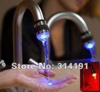 free shipping 60pcs/lot Water Glow LED Faucet Light Temperature Sensor #9907
