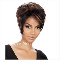 Free Shipping Hot Item Heat Resistant  New Stylish Brown  Short Straight Lady 's Fashion Sexy Synthetic Hair Wig/ Wigs