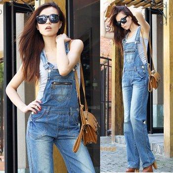 wholesale  plus size XXL -XL 2012 fashion skinny casual  light blue denim  sleevelsee overalls  Denim jumpsuits jean jumpsuit