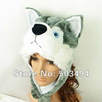 Husky Hat Animal Cartoon Wolf Cap Gift Darkslategray Earflap with Pom Poms BLUE EYES Free shipping , Wholesale 50 PCS,