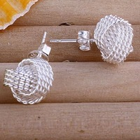 E013 Wholesale Price. 925 Silver Mesh Ball Knot Earring. Fashion Earring Jewelry. Free Shipping Earring. Silver Design Jewelry