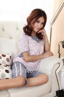 Lepoard cotton short sleeve pajamas / women loungewear / wholesale & retail / free shipping