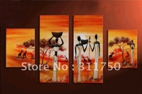 hand-painted wall art Africa national grassland home decoration abstract Landscape oil painting on canvas 4pcs