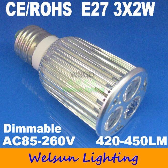 New 85-265V White 6W dimmable E27 LED Bulbs(China (Mainland))