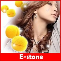 6 Pcs/Lot Yellow Balls Soft Sponge Hair Care Curler Rollers Free Shipping