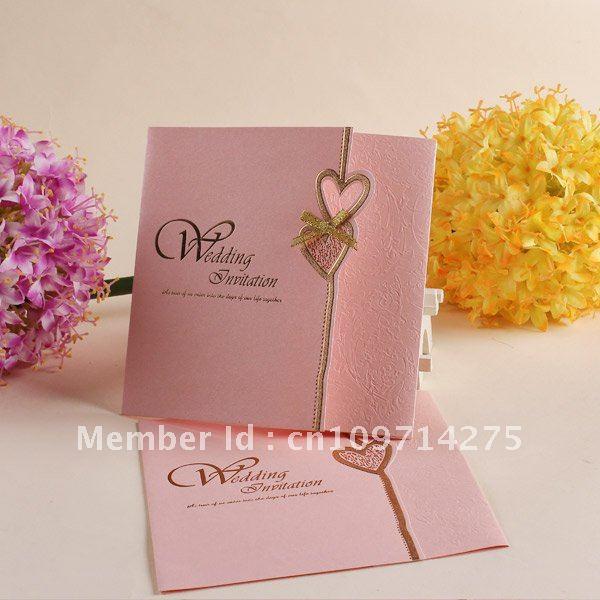 Wedding cards European invitations pink invitation print invitations top sale cards(China (Mainland))