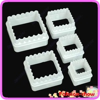 Free Shipping New 5pcs Square And Wave Shape Cutter Sugarcraft Cake Decorating Modelling Tool