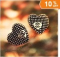 (Min.order 10$ mix) cute fashion bronze punk rivet letter X heart stud earring free shipping MB wholesale charms vintage retro