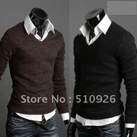 2012  New Arrival Men's Knitwear Casual & Slim pullover sweater for men v-neck cotton warm sweater 5 color m-xxl