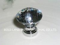 D30mm 30pcs/lot Free shipping decorative hardware K9 diamond crystal chrome cabinet cupboard door knob