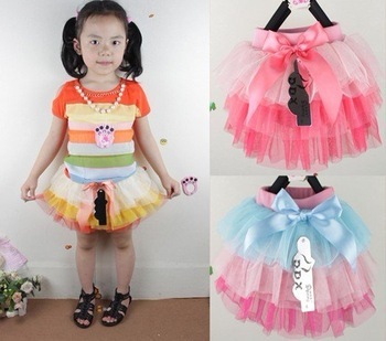 2013 summer,4pcs/lot+cute bowknot+charming mesh+4 sizes,girls lace skirt,kids summer skirt,babys fashion garment
