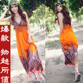Summer slim casual ultra long one-piece dress bohemia ultra long skirt