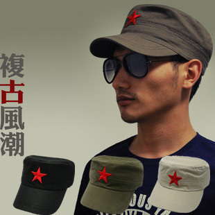 free shipping CHINA  vintage red five-pointed star cade red military hat baseball cap lovers summer A