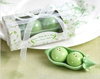 100SET/LOT Two Peas in a Pod Ceramic Salt and Pepper Shakers 2PCS/SET Free shipping wedding favors and gifts