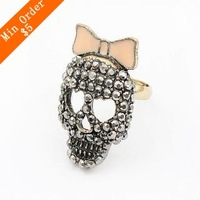 Min.order is $15 (mix order) Free Shipping Cute Bow Bowknot full Drill Index Finger Ring 2012 New Korean Jewelry Wholesale R662